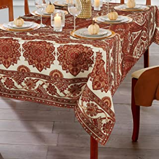 ColorBird Paisley Floral Fall Tablecloth Water Resistant Spillproof Bamboo Fabric Table Cover for Kitchen Farmhouse Dining, Harvest, Autumn, Thanksgiving, Rectangle/Oblong, 60 x 84 Inch