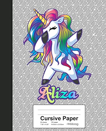 Cursive Paper: ALIZA Unicorn Rainbow Notebook