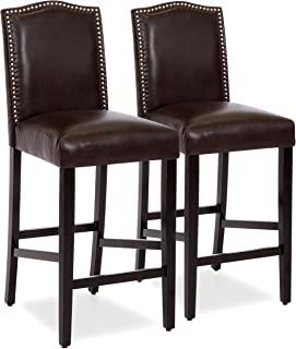 Best Choice Products Set of 2 30in Contemporary Faux Leather Counter Height Armless Backed Accent Breakfast Bar Stool Chairs for Dining Room, Kitchen, Bar w/Studded Nail Head Trim - Brown