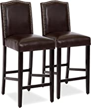 Best Choice Products Set of 2 30in Faux Leather Counter Height Armless Bar Stool Chairs w/Studded Trim Back - Brown