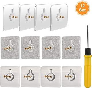 [12-Set]OOTSR 60x60mm Tornillos Adhesivos Desmontables Clavos para colgar pegajosos de montaje en pared sin dejar rastro No perforar para baño Cocina Cuarto de almacenamiento Azulejo Pared Ducha