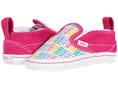 Vans Kids Slip-On V Crib (Infant/Toddler) ((Rainbow Vans) Cabaret/True White) Girls Shoes