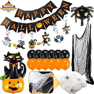 Flyfun Halloween Décoration Toile d'araignée 300g+50 Fausses araignées,Toile d'araignée pour des décorations de fête effra...