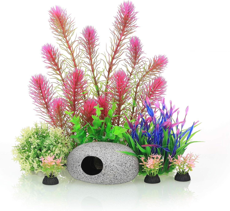 Aquarium Decoration Ornament Artificial Plastic Plant with Rock Cave Kit for Fish Tank