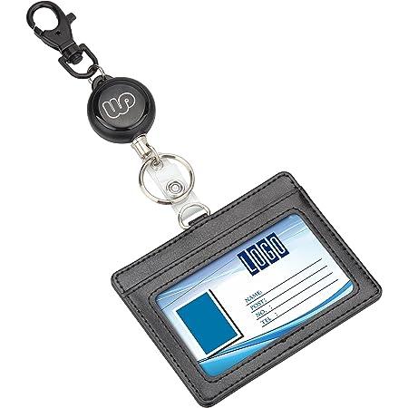 Wisdompro® - Enrouleur rétractable, porte-badge double face en cuir synthétique ultra-résistant et porte-clé Horizontal Noir