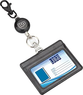 Wisdompro Retractable Reel with Heavy Duty Horizontal 2-Sided PU Leather ID Badge Holder and Key Ring - Horizontal