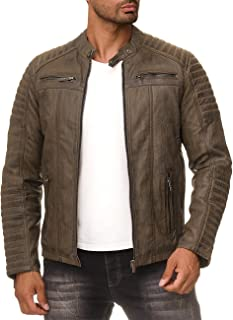 Redbridge Men's Real Leather Jacket Biker Style Leather Genuie Stitching M6013LUX