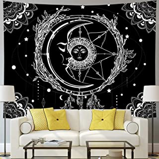 Moon and Sun Tapestry Psychedelic Bohemian Mandala Wall Tapestry Black and White Indian Hippy Celestial Tapestry Starry Dreamcatcher Tapestry Wall Hanging for Bedroom Living Room Dorm(W59.1