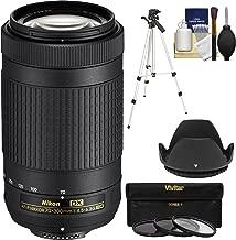 Nikon 70-300mm f/4.5-6.3G DX AF-P ED Zoom-Nikkor Lens with 3 UV/CPL/ND8 Filters + Hood + Tripod + Kit (Renewed)