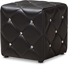 Baxton Studio Anabelle Modern and Contemporary Black Faux Leather Upholstered Ottoman