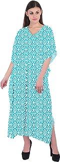RADANYA Geometric Long Casual Cotton Maxi Kaftan Evening Summer Beach Dress Caftan for Women - Black and White