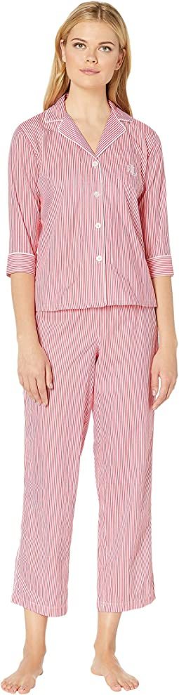 Petite 3/4 Sleeve Pointed Notch Collar Pajama Set