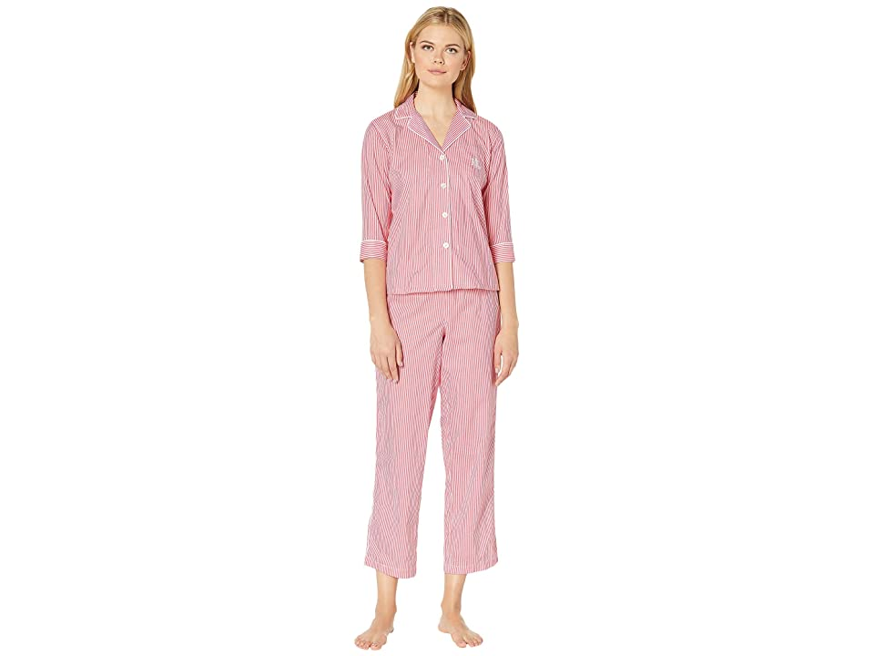 LAUREN Ralph Lauren Petite 3/4 Sleeve Pointed Notch Collar Pajama Set (Coral Stripe) Women