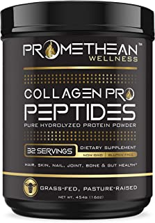 Collagen PRO Peptides Pure Premium Hydrolyzed Protein Powder 16oz Grass-Fed Pasture-Raised Unflavored Easy to Mix Non-GMO Paleo Friendly Gluten Free GMP Certified Made in USA