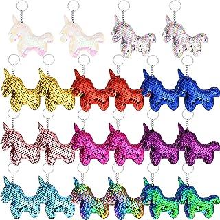 22 Stück Einhorn Schlüsselanhänger Flip Pailletten Einhorn Schlüsselanhänger für Handtasche Geldbeutel Party Favors, 11 Farben