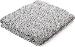LUSIE'S LINEN Bath Towel - 100% Linen - Durable European Flax - Striped Grey