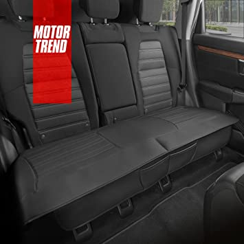 Motor Trend Black Universal Car Seat Cushion, Rear Bench Seat – Padded Luxury Cover with Non-Slip Bottom & Storage Pockets, Faux Leather Cushion Cover for Car Truck Van and SUV: image