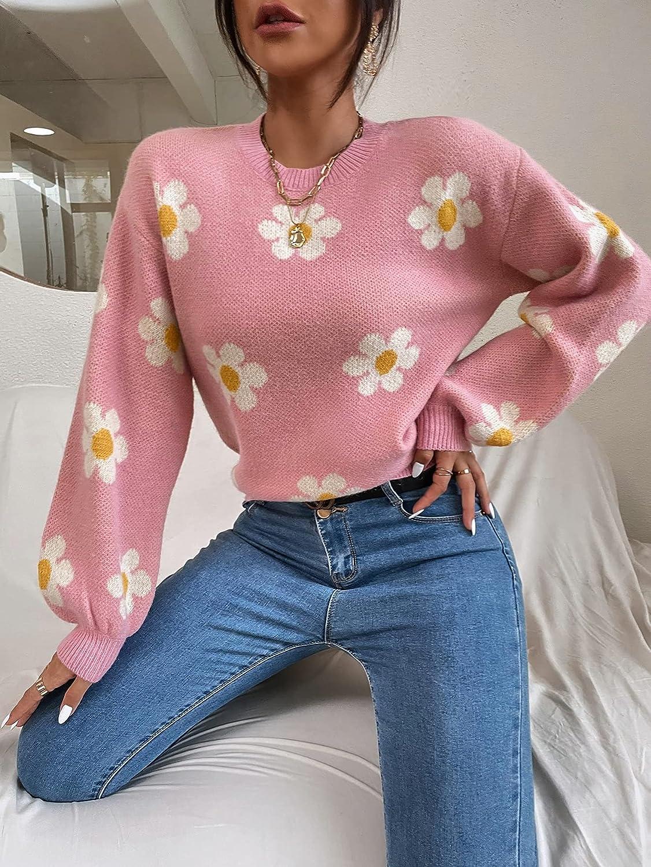 SheIn Women's Floral Long Bishop Sleeve Sweater Drop Shoulder Round Neck Pullover Top