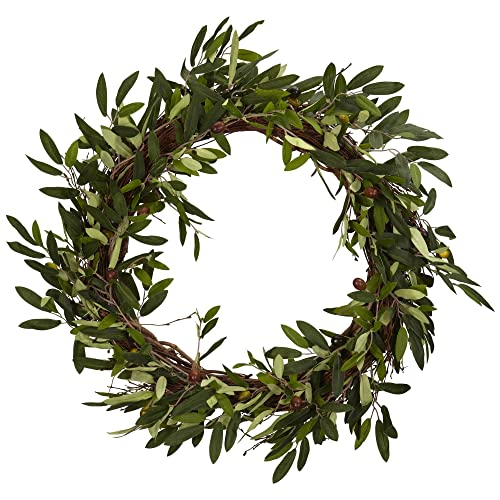 Nearly Natural 4773 20in. Olive Wreath,Green,22  x 22  x 6