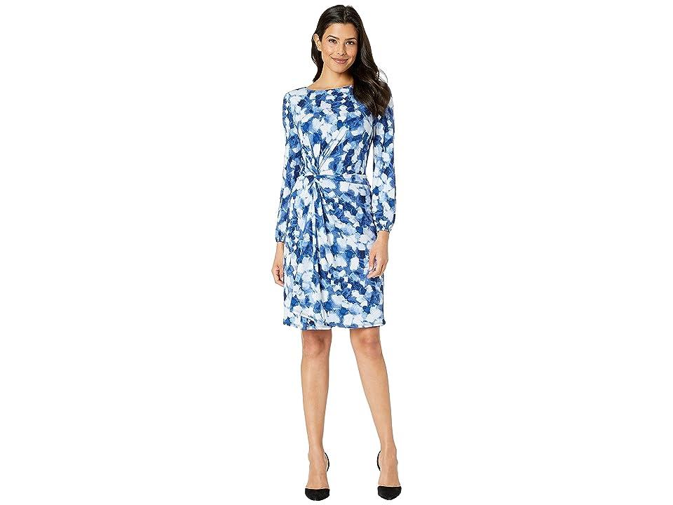 London Times A-Line Dress w/ Side Twist (Blue/Navy) Women