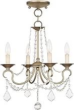 Livex Lighting 6514-73 Pennington 4 Light Convertible Hanging Lantern/Ceiling Mount, Hand Painted Antique Silver Leaf