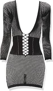 Leg Avenue Women's Net Long Sleeve Mini Dress with Waist Cincher, Black, O/S
