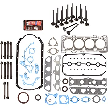 Evergreen FSHBIEV6029L Full Gasket Set Head Bolts Intake Exhaust Valves Compatible With 03-05 1.6L Kia Rio DOHC 16V A6D