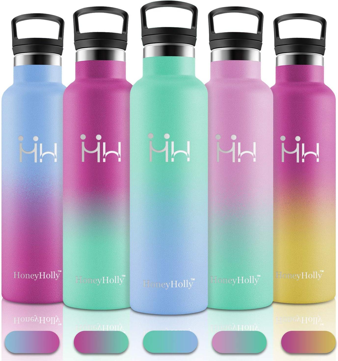 HoneyHolly Botella de Agua Acero Inoxidable 350ml/500ml/600ml/750ml/1000ml, Aislamiento de Vacío de Doble Pared, Botellas de Frío/Caliente, sin bpa Botella Reutilizable para niños Gimnasio Bicicleta