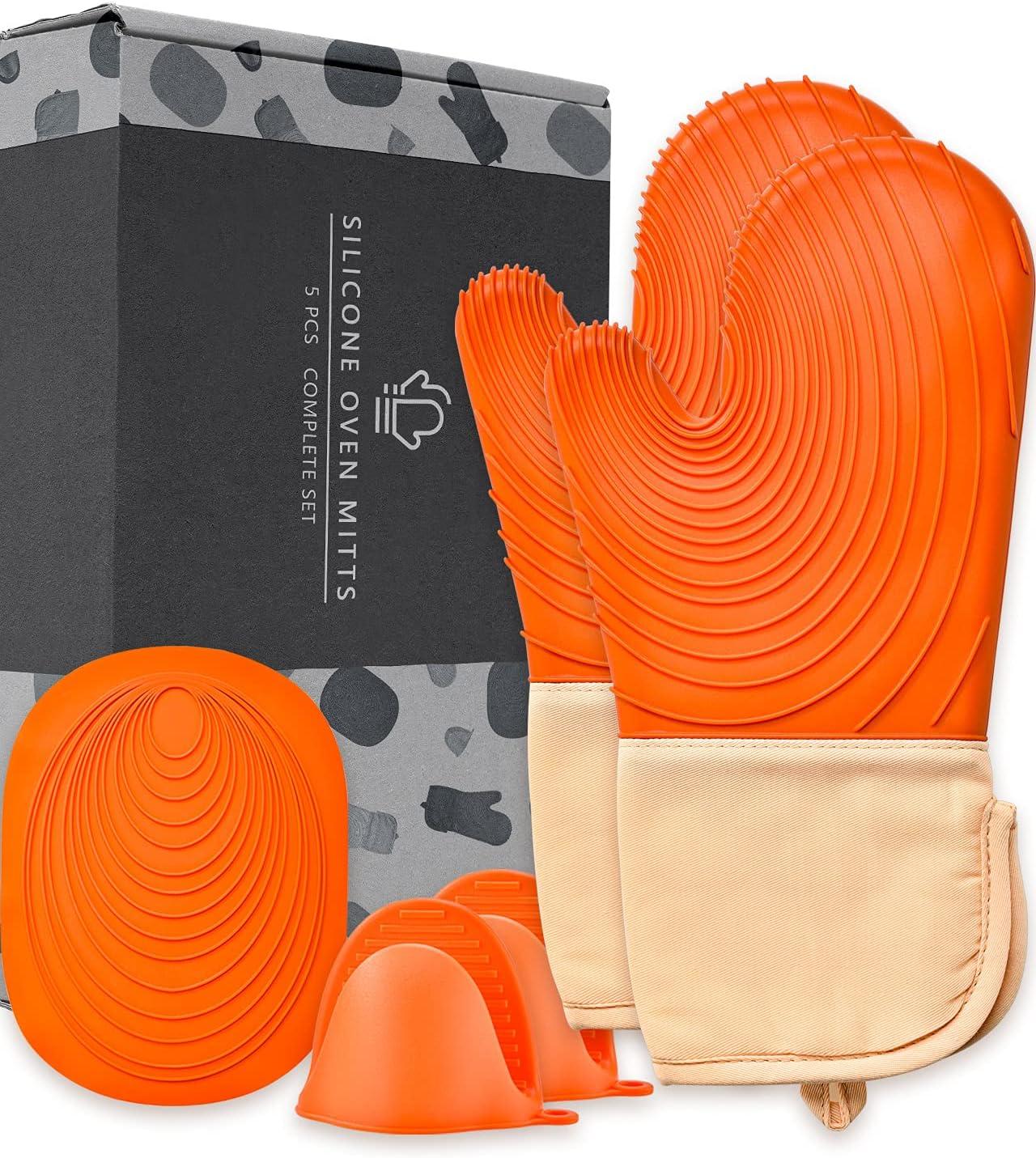 EUNA Juego de manoplas horno silicona con alfombrillas para ollas y mini macetas, guantes hornear, resistentes al calor, cocina, multiusos cocinar barbacoa, naranja camello