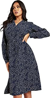 All Over Printed V Neck A-Line Midi Women's Dress