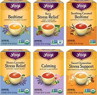 Yogi Tea - Stress Relief and Herbal Tea Variety Pack Sampler (6 Pack) - 96 Tea Bags
