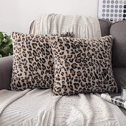 discount Phantoscope Set of 2 Decorative Leopard Series Soft Plush Fur Throw Pillow Case Cushion popular Cover Coffee 18 x 18 inches 45 x 45 lowest cm outlet sale