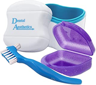 Dental Bath, Retainer Case and Brush ~ Storage Case and Container for Soaking and Cleaning Ortho Retainers (Blue Bath, Gli...