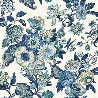 York Wallcoverings Global Chic Graceful Garden Removable Wallpaper, Cream, Dark Blue, Mediu Blue, Light Blue