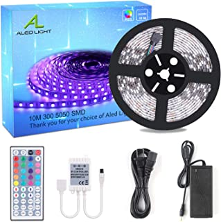 ALED LIGHT 32.8ft 10M SMD 5050 300leds RGB Changing LED Strip Light Kit + 44 Key IR Remote + Reciever + 24V 3A Power Supply + Product Manual,Chritmas Light Decoration,Rolls Light