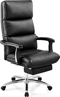 Ticova Executive Office Chair - High Back Leather Office Chair with Footrest and Thick Padding - Reclining Computer Chair with Textured Leather and Ergonomic Segmented Back, Black