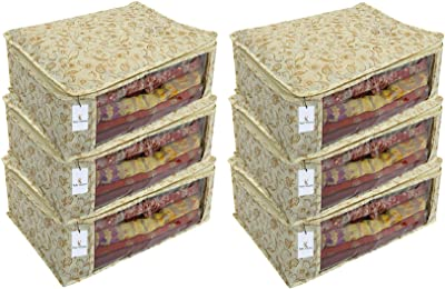 Heart Home 6 Piece Non Woven Saree Cover Set, Brown, 7 Inches Height CTHH11461