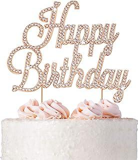 Sponsored Ad - Happy Birthday Cake Topper - Premium Rose Gold Metal - Happy Birthday Party Sparkly Rhinestone Decoration M...