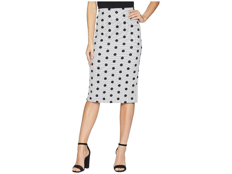 eci Polka Dot Printed Scuba Skirt (White/Black) Women