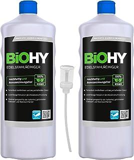 BiOHY Edelstahlreiniger 2x1l Flasche  Dosierer | Edelstahlpflege für neuen, streifenfreien Glanz | Schutz gegen Fingerabdrücke, Schmierflecken etc. | schonend und nachhaltig