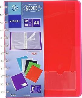 Prot/ège documents A4 en plastique Porte-vues Personnalisable A4 - Couleurs Al/éatoire Reliure 80 Vues 40 pochettes Fabriqu/é en France Viquel