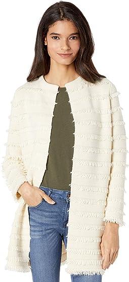 Fringe Collarless Sweater-Blazer