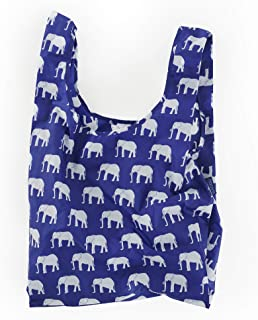 BAGGU Standard Reusable Shopping Bag, Ripstop Nylon Grocery Tote or Lunch Bag, Recycled Elephant Blue