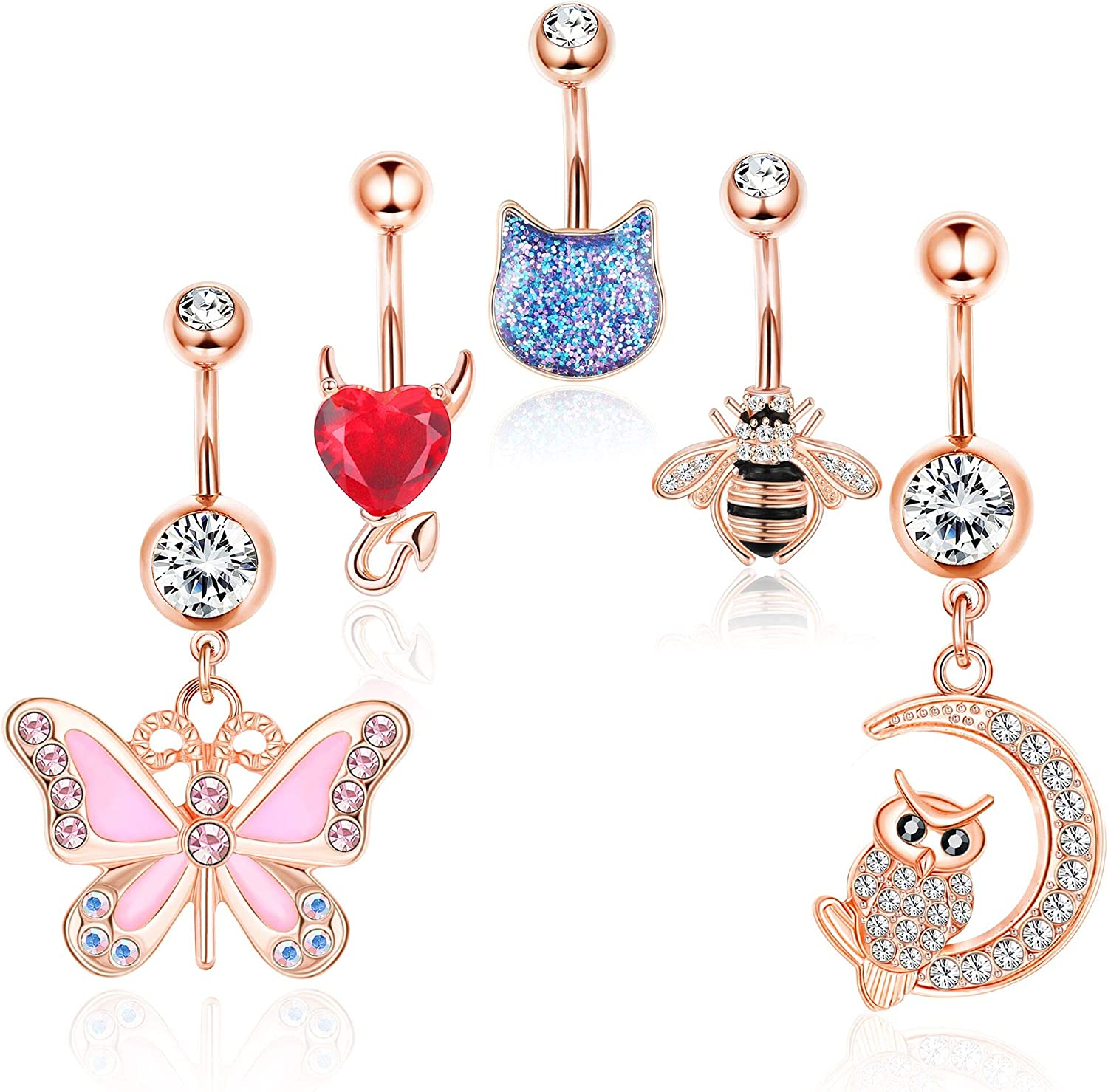Drperfect 5Pcs Belly Button Rings for Women 14G Stainless Steel Navel Rings Gold Rose Gold Sliver Plated CZ Belly Rings Barbell Piercing Body Jewelry