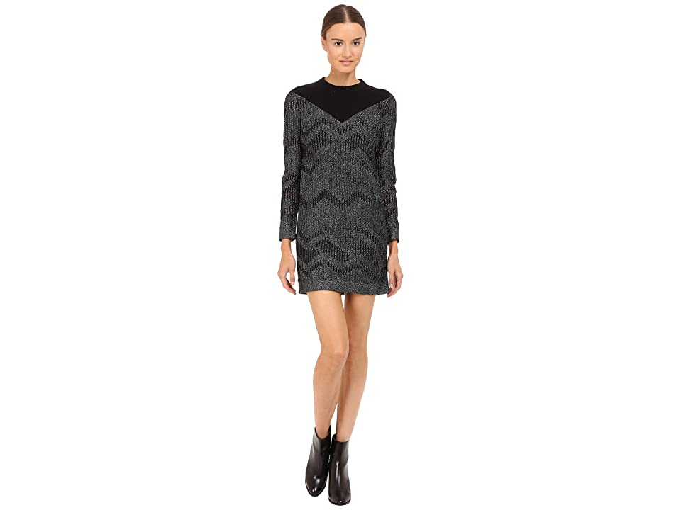M Missoni Bicolor Mesh Long Sleeve Lurex Dress (Black) Women