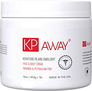 KPAway Keratosis Pilaris Emollient - Acid Free KP Cream, Lotion Made With Organic Coconut Oil, Baby Friendly, Paraben Free, For Rough & Bumpy Skin (16oz)