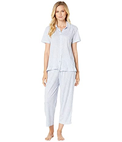 Carole Hochman Cotton Jersey Short Sleeve Top Capri Pants Pajama Set (White & Periwinkle Ditsy) Women