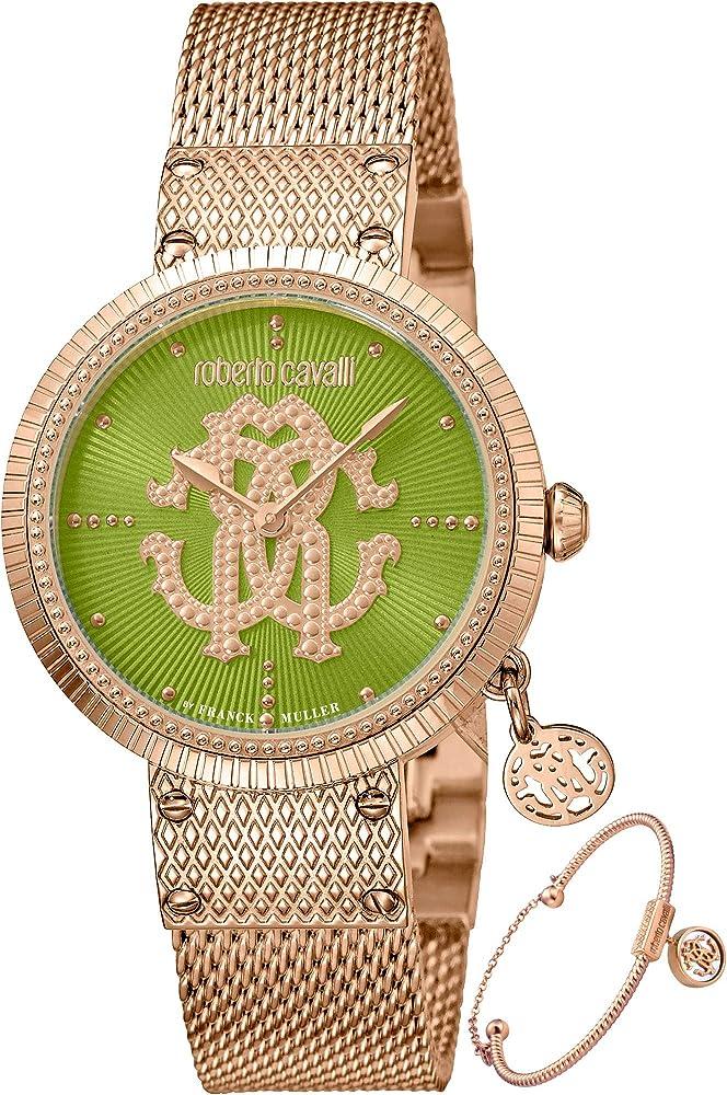 Roberto cavalli by franck muller orologio elegante da donna in acciaio placcato oro piu` braccialetto RV1L062M0091