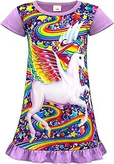 HOYMN Nachthemd M/ädchen Einhorn Kleid Regenbogen Nachtw/äsche Kurzarm Nachthemd Nachtkleider Morgenm/äntel 3-10 Jahre f/ür Geschenke