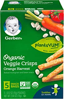 Gerber Graduates Organic Veggie Crisps, Orange, 5 Count (Pack of 2)